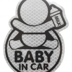 Dekor samolepící BABY IN CAR stříbrný   Jipos.cz