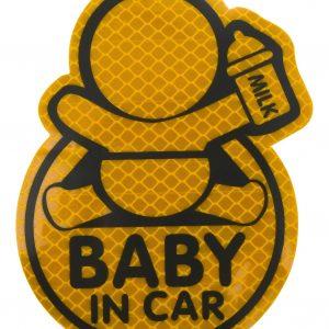 Dekor samolepící BABY IN CAR žlutý   Jipos.cz