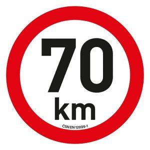 Samolepka omezení rychlosti  70km/h reflexní (200 mm)   Jipos.cz