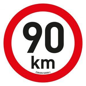 Samolepka omezení rychlosti  90km/h reflexní (200 mm)   Jipos.cz