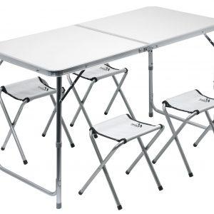 Stůl kemping DOUBLE teleskop. šedý + 4x židlička | Jipos.cz